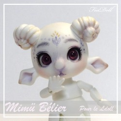 SOLD Tiny BJD Mimü Bélier White Skin avec face-up