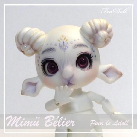 SOLD Tiny BJD Mimü Bélier White Skin avec face-up