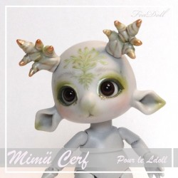 EN STOCK Tiny BJD Mimü Cerf Gris  avec Face-up