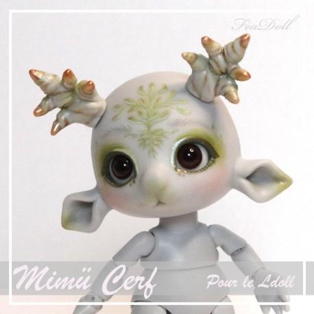 EN STOCK Tiny BJD Mimü Cerf Gris  avec Face-up