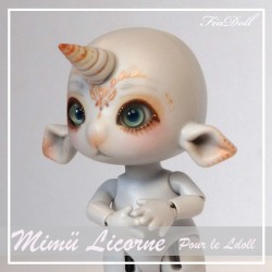 SOLD OUT Tiny BJD Mimü Licorne Gris  avec Face-up