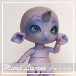 Tiny BJD Mimü Licorne violette avec Face-up