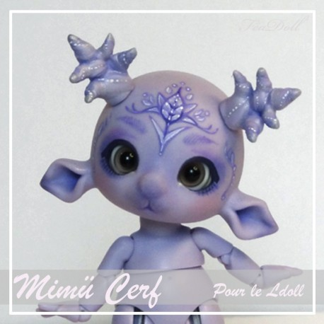 Tiny BJD Mimü Cerf violet  avec Face-up