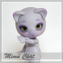 IN STOCK  Tiny BJD Mimü kitty cat purple skin with make-up