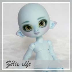 SOLD OUT Tiny BJD Zélie elfe Pastel bleu avec makeup